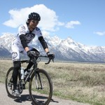 Riding along in front of the Tetons