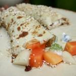 Fruit Crepes with yogurt and granola